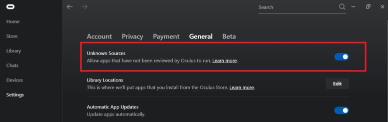 Oculus App Unknown Sources